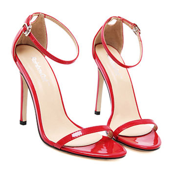 Lace-up Thin High Heel Shoes Sandals   red  35