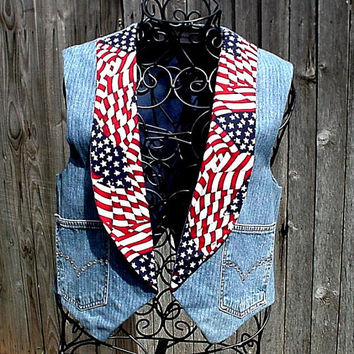 Rhinestone Jean Vest Denim Patriotic Upcycled Blue Jeans Eco Rustic Western Ranch Rodeo Cowgirl Original OOAK itsyourcountryspirit