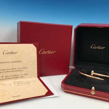 Cartier Juste un Clou Nail Bangle Bracelet 18K Rose Gold 2017 Box Papers Size 18