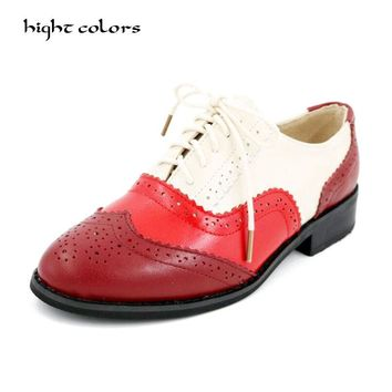 Plus Size 34-43 New 2017 Fashion Vintage Guneuine Leather Women Flat Lace Up Brogue Oxford Shoes For Ladies Casual Flat Shoes