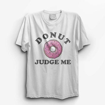 Vintage Style Donut Judge Me   Unisex T Shirt 70s Cool Rock And Roll Ironic Doughnuts