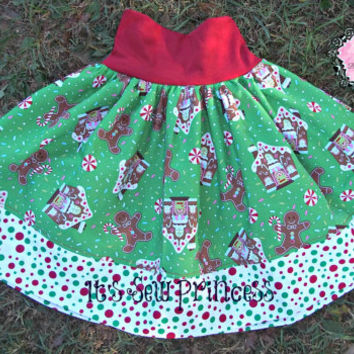 Christmas Gingerbread Green and Red Everyday Play Skirt/Baby Clothing/Girls Clothing/Boutique Clothing/Yoga waistband skirt/Christmas fabric
