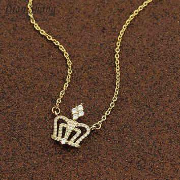 Cool DIANSHANGKAITUOZHE New 2018 Queen King Crown Necklace Women Choker Pendant Shiny Rhinestone Women Jewelry Crystal Wedding GiftsAT_93_12