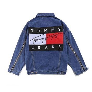 ''Tommy Hilfiger '' Women Men Lover Denim Cardigan Jacket Coat