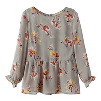 ROMWE Floral Print Pleated Loose Blouse