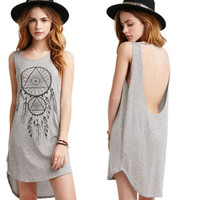 Women Lady Girls Female Designed Comfortable Dreamcatcher One-piece Dress Summer Casual Loose Sexy Charming Mini Sundress Dress GIFT 14 Free Shipping