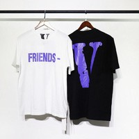 2018 summer Vlone t-shirt hip hop kanye west frrends fear of god men women oversized harajuku white t shirt funny t-shirt tops