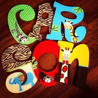 TOO GOOD ZOO ZOO INSPIRED HAND PAINTED WOOD WALL LETTERS