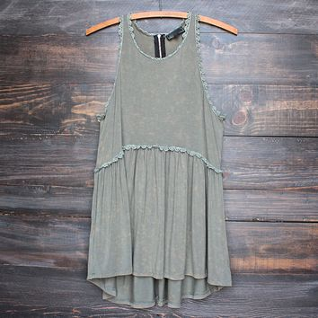Final Sale - Olive Green Acid Wash High-Low Racer Back Tank