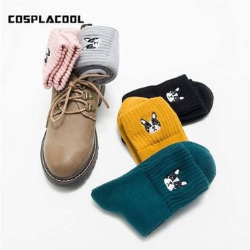 [COSPLACOOL]Wacky Embroidery Pug Thick Warmer Funny Socks Women Animal Floor Candy Color Socks For Girls Calcetines Mujer