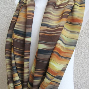 Scattered stripes scarf, Infinity scarf, Circle scarf, Loop scarf, Mother's day, Chiffon spring scarf, Tube scarf, Limited edition, Unique