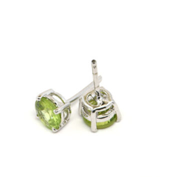 Green Peridot Stud Earrings, Round Peridot Earrings, Peridot and Sterling Silver Earrings, Green Gemstone Jewelry, August Birthstone Jewelry