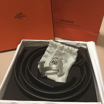 Authentic Hermes Men's Belt Reversible Black/chocolate Size:95