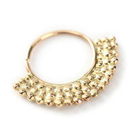 septum jewelry - aztec style - Gold nose ring 14 karat yellow gold - nose jewelry - septum ring - tragus - piercing