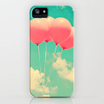 Balloons in the sky (pink ballons in retro blue sky) iPhone Case by Andreka Photography | Society6