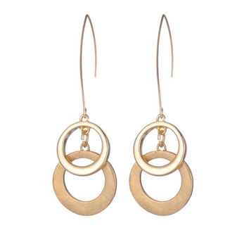 Shineland New Arrive Gold/Silver/Rose Gold Color Alloy Pierced Circel Drop Earring for Women Brincos Grandes Jewelry Accessories