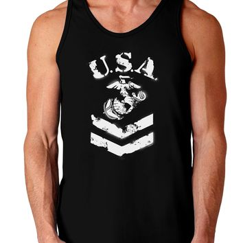 USA Military Marine Corps Stencil Logo Dark Loose Tank Top