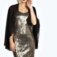 Niamh Sequin Bodycon Dress with Cape
