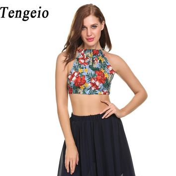 Tengeio Summer Woman Tank Top Casual Halter Sleeveless Back Lace Up Backless Bralette Top Crop Tropical Print Strapless Vest 610