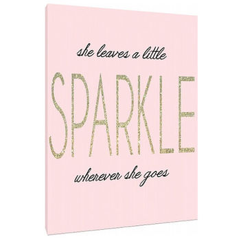 She leaves a little Sparkle - Custom Art Print - Home Decor - wall art - typography - Art Quote - floral wreath - Print poster canvas