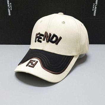 FENDI Summer Casual Embroidery Sports Sun Hat Baseball Cap Hat Light Yellow