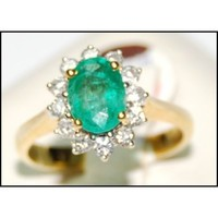 Jewelry Diamond 18K Yellow Gold Solitaire Emerald Ring [RS0007]