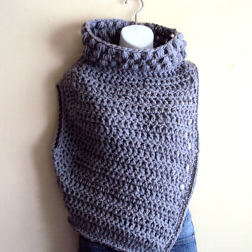 Huntress Cowl Katniss Inspired Cowl Crochet Vest Shrug Neckwarmer Cross Body Sweater Women Fashion Clothing Ready to Ship