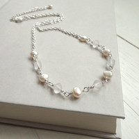 White pearls chain necklace frosted glass beads short minimalist elegant