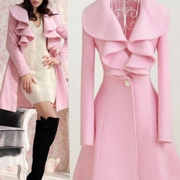 Trendy Falbala Neck Trench Coats Jackets Parka Slim Overcoats Fashion Woolen Outwear = 1929948356