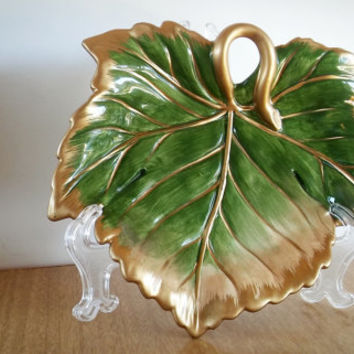 Fitz and Floyd Classics Renaissance Leaf Tray, Vintage Fitz and Floyd Christmas Candy Dish