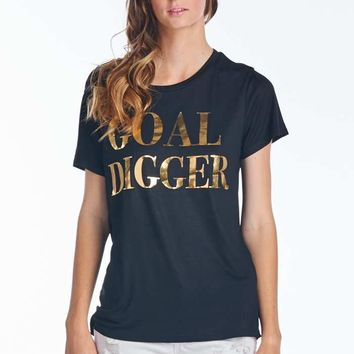 """GOAL DIGGER TEE"" Boyfriend Fit T-shirt Tee in Black"