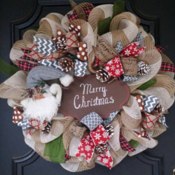 Christmas Wreath Santa Merry Christmas Decor Christmas Wreath Front Door Christmas Wreath Holiday Wreath  Burlap Wreath Merry Christmas