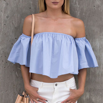 Posie Off The Shoulder Ruffle Crop Top - Baby Blue