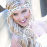 Pink Pewter Jeweled Stretch Headband TORI White AB -Wedding Prom Hair Accessory
