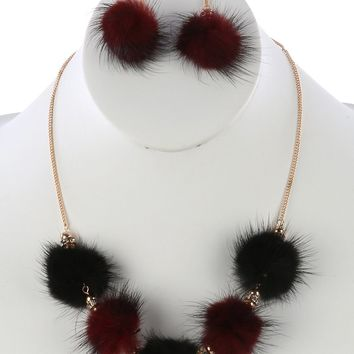Pom Pom Charm Pave Crystal Stone Bead Link Chain     Necklace Earring Set