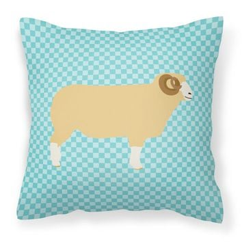 Horned Dorset Sheep Blue Check Fabric Decorative Pillow BB8154PW1818