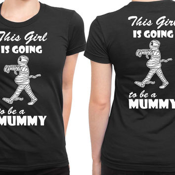 Funny Pregnant Halloween Costume 2 Sided Womens T Shirt