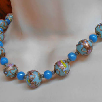 Wedding Cake Necklace, Venetian Glass Beads, Blue Pink Gold Foil