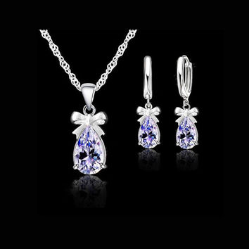 925 Sterling Silver Shining White light Blue Cubic Zircon Earring Pendant Necklace Jewelry Set