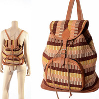 Vintage Southwestern Cotton and Leather Backpack 70s 80s Geometric Woven Hippie Boho Gypsy Rucksack Bag