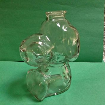 Clear Glass Vintage Snoopy Dog Bank  Charlie Brown