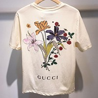 Gucci 2019 new letter back floral print round neck pullover short sleeve