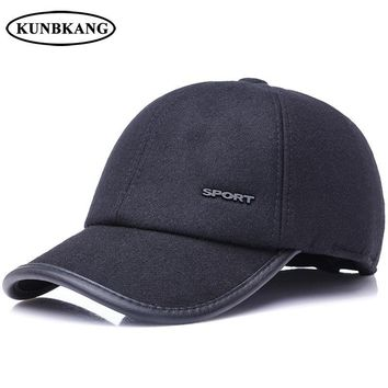 Trendy Winter Jacket Men Winter Woolen Baseball Cap Warm Dad Snapback Hat Bone With Ear Flap Thick Male Sport Fashion Keep Warm Ear Protect Dad Cap AT_92_12