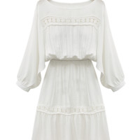 'Amber' Boho Embroidered Crochet Lace Sheer White Dress
