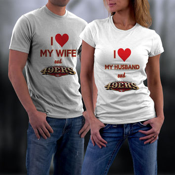 49ers, San Francisco 49ers Couples Shirts, Personalized Couple Shirts. Ladies and Men Tshirt