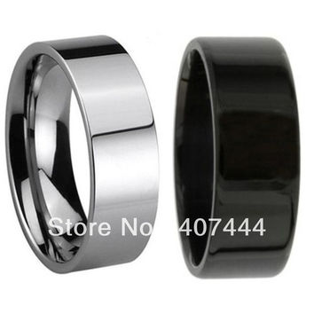 Free Shipping Cheap Price USA Canada UK Russia Brazil Hot Sales 8MM Pipe Cut Black Silver Men's Tungsten Wedding Ring Size 6-13
