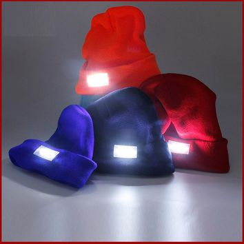 a753528a6f4 LED Light Cap Knit Beanie Hat with Batteries Outdoor Hunting Cam