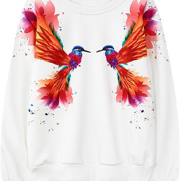 White Bird Print Long Sleeve Sweatshirt