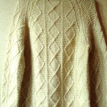 Fisherman Sweater Vintage Hand Knit Irish Aran oversized chunky ivory white wool unisex womens mens