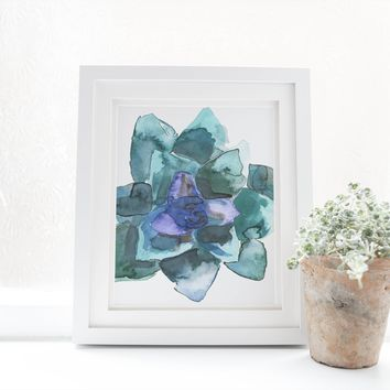 Watercolor Blue + Green Succulent Plant Art Print